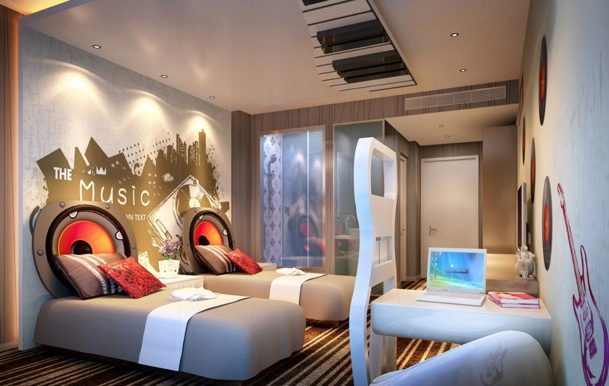 Themed hotel rooms music theme hotel room to sleep for Sleeping room interior design