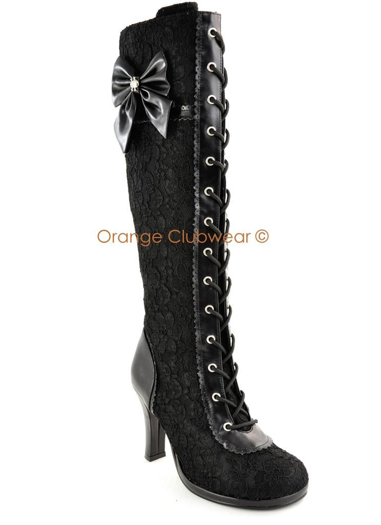 434995ca93a Demonia Glam 240 Womens Gothic Lolita Lace Knee High Victorian Goth Boots  Shoes