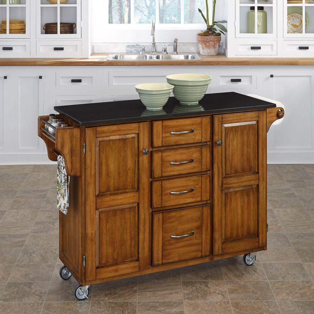 Create-a-Cart Warm Oak Kitchen Cart With Black Granite Top | Pinterest