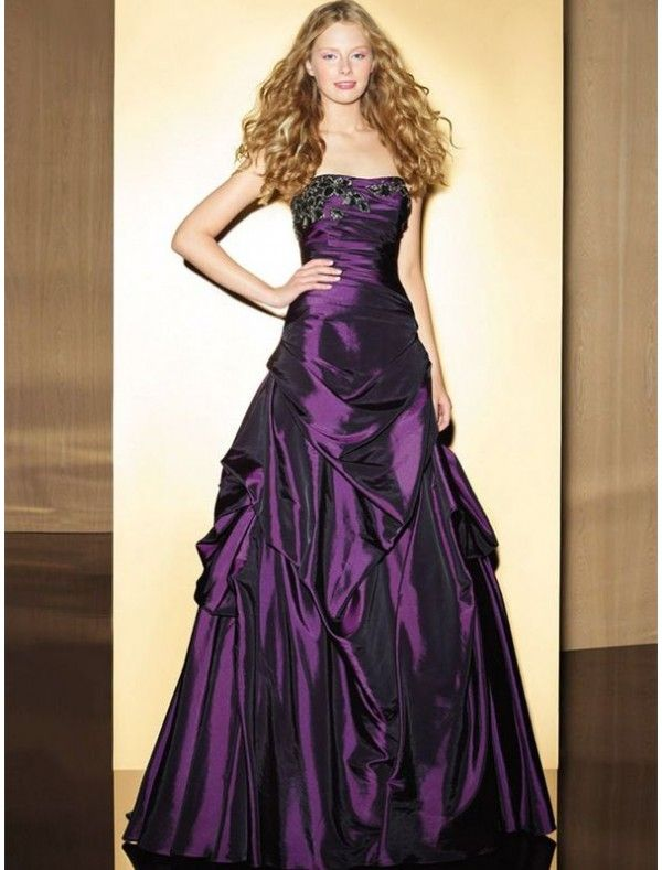 Taffeta Strapless A-line Prom Dress with Appliques and Pick-up Skirt