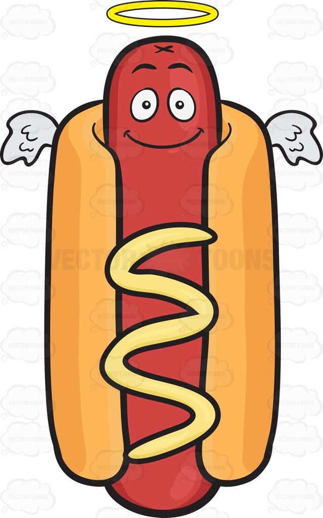 Smiling Hot Dog With Halo And Angel Wings Hot Dogs Hot Dog Buns
