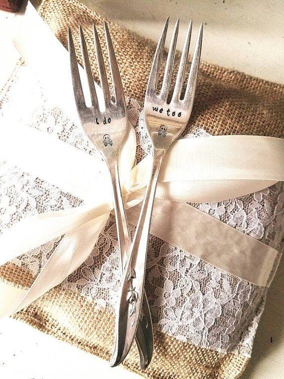 Wedding forks Until death do us part Mr and Mrs I do me too vintage - tim burton halloween decorations