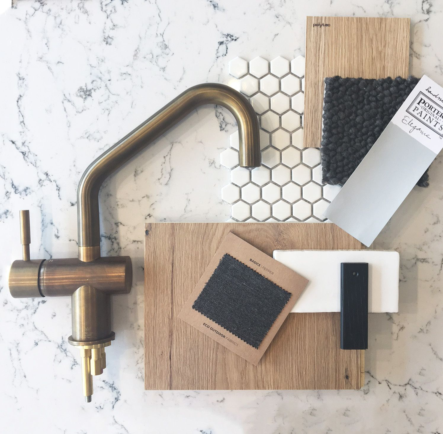 Rich and natural. A beautiful palette designed by THE DESIGNORY featuring a gorgeous tap from Sussex Taps #moodboards