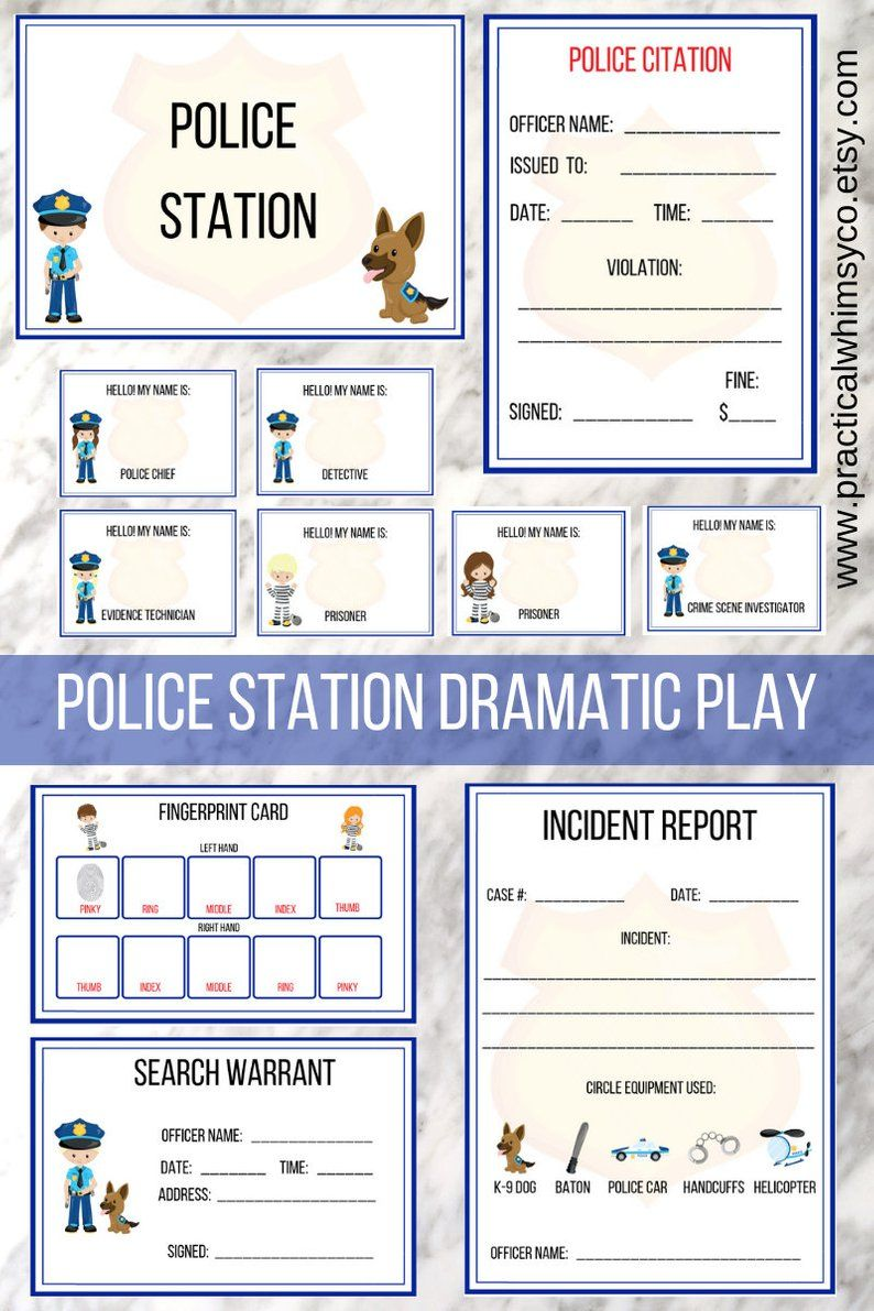 Pretend Police Officer Instant Download Police Badge Etsy Dramatic Play Firefighter Dramatic Play Dramatic Play Printables