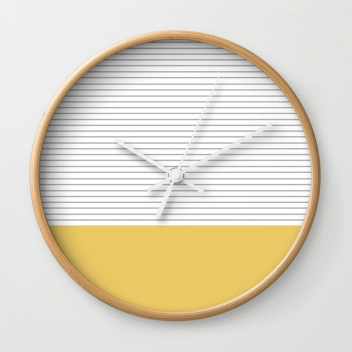 Minimal Gray Stripes - yellow Wall Clock by allyjcat