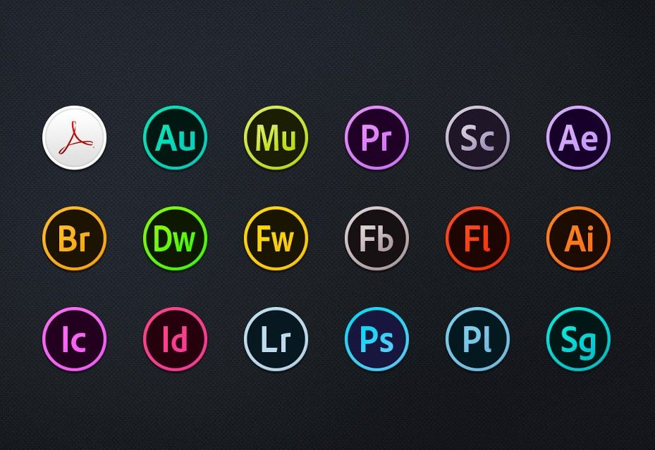 adobe cc circles icons  u2013 free download