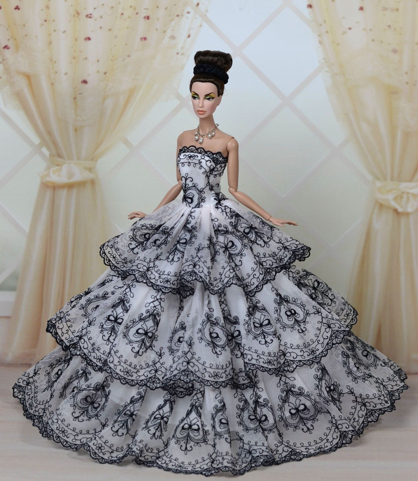 Gorgeous Princess Party Dress//Clothes Wedding Gown+Veil For 11.5in.Doll N03