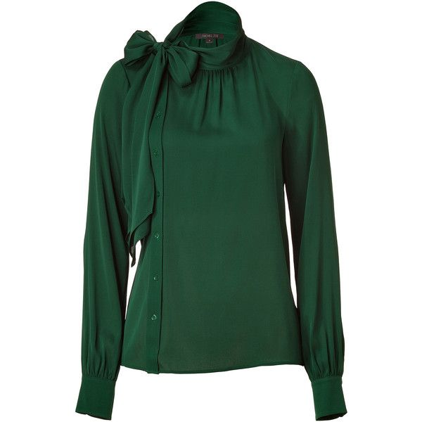 efca91bb2 RACHEL ZOE Bottle Green Stretch Silk Blouse | Passion for Fashion ...