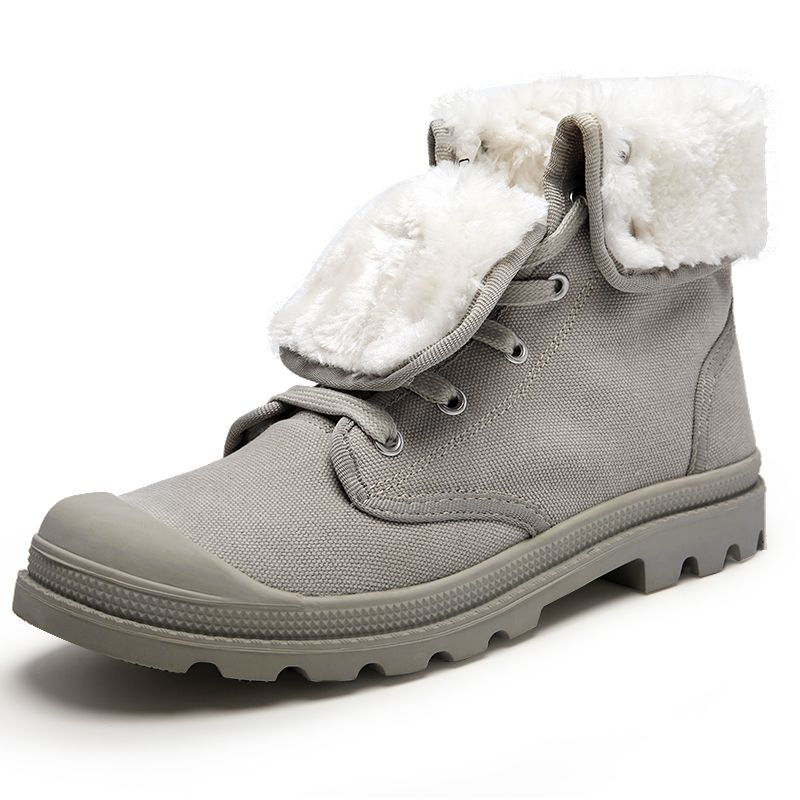 Women Folded Faux Fur Martin Boots Men Lace up Canvas Winter Sneakers