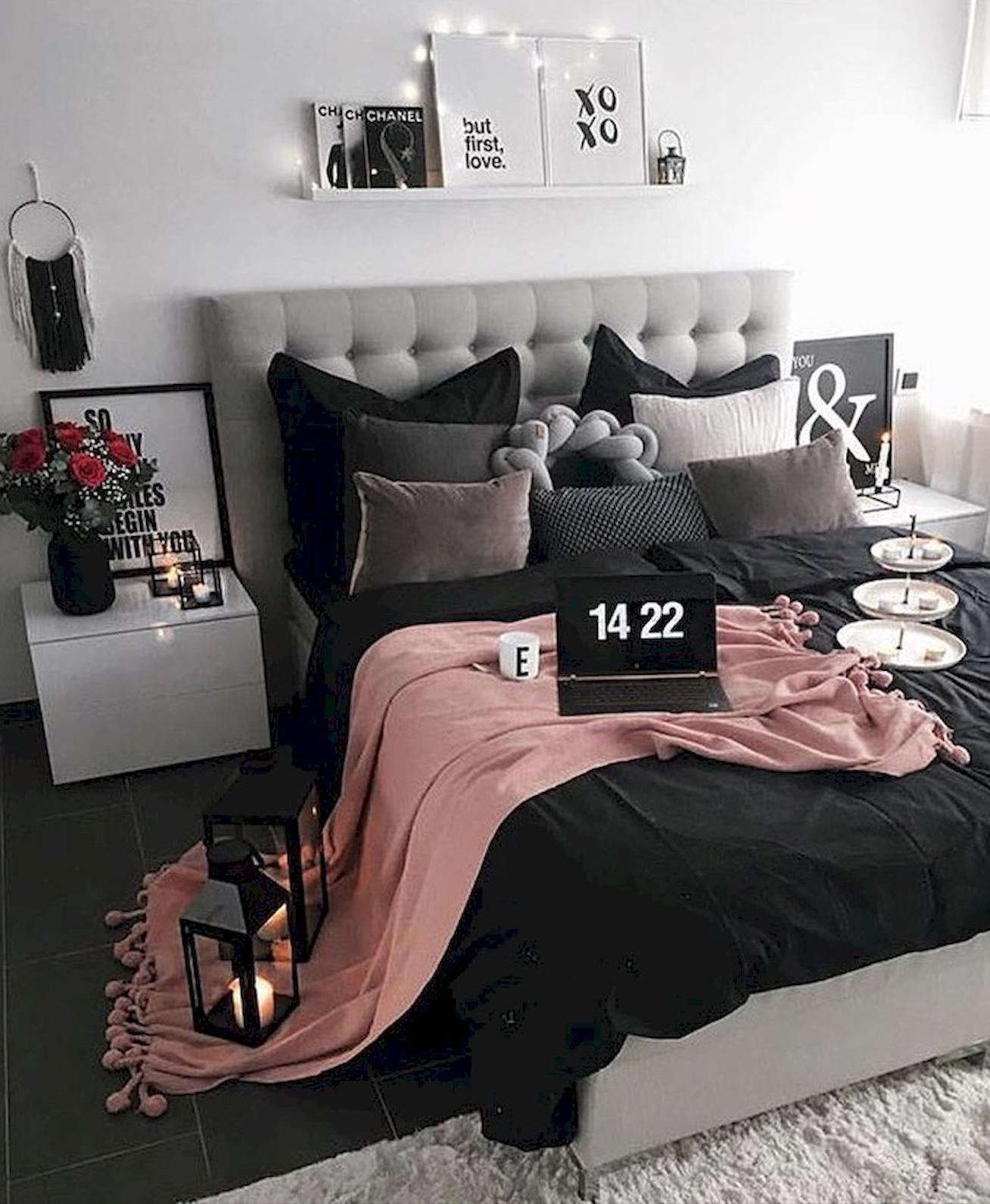 black dark home decor ideas bedroom