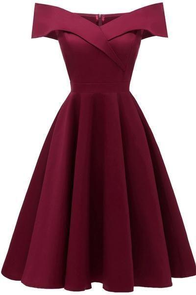 Burgundy Off-the-shoulder Satin A-line Prom Dress