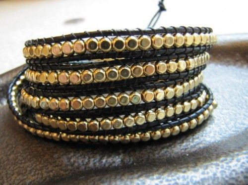 Black Beaded 5x Leather Wrap Bracelet With Gold Cube Beads