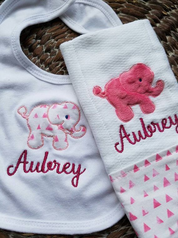 Personalized elephant baby bib and burp cloth gift set personalized elephant baby bib and burp cloth gift set handcrafted baby gifts customized gifts monogrammed new baby gifts negle Image collections
