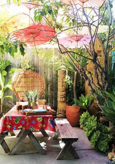 Garden Visit Kevin S Tiny Tropical, Tiki Patio Decor