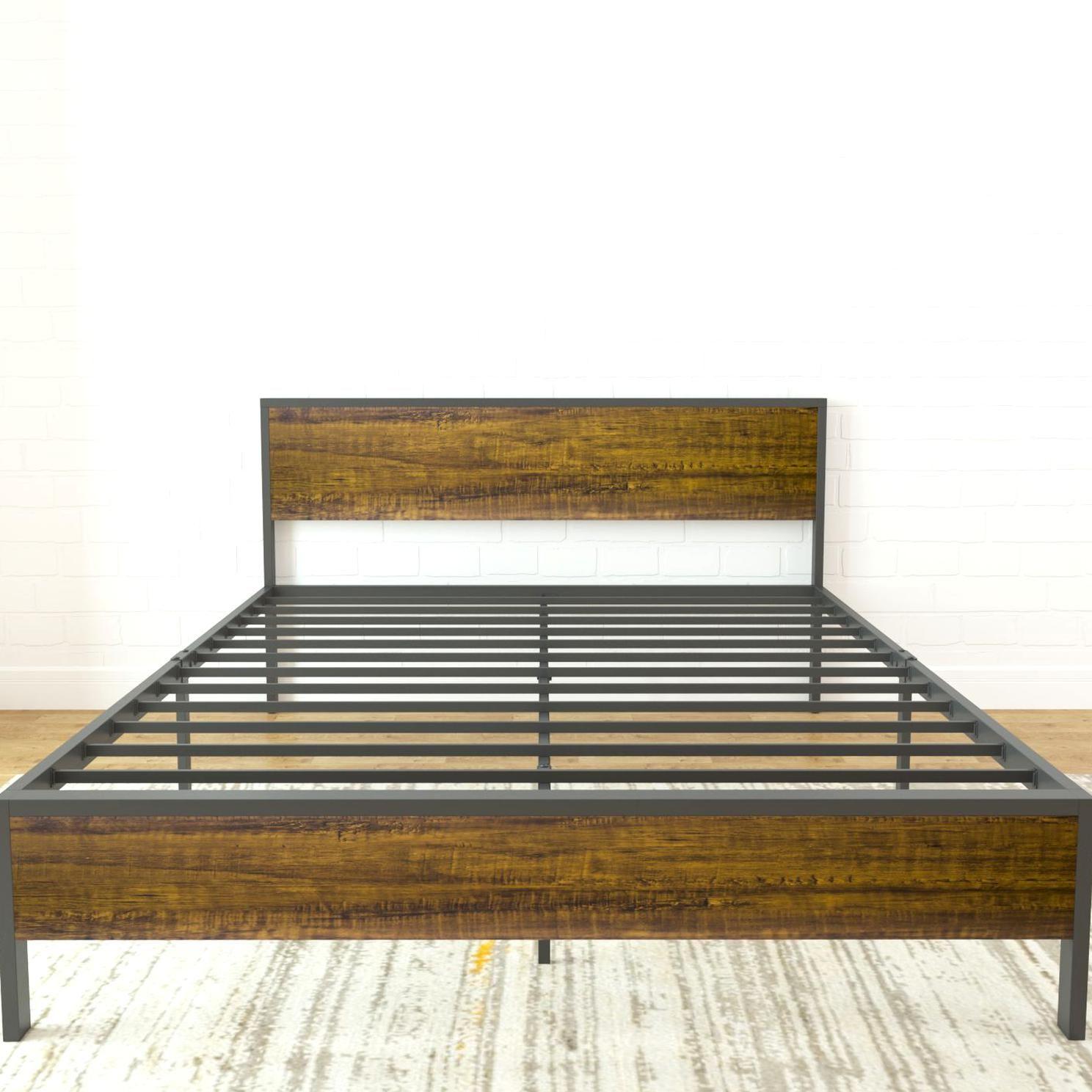 Queen Metal And Wood 14 Platform Bed With Headboard Heavy Duty