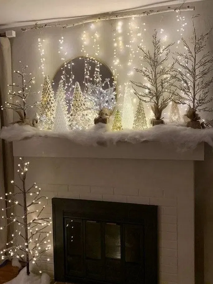170 Beautiful White Christmas Decor Ideas On A Budget 24 My Easy Cookings Me Christmas Mantle Decor Christmas Decor Diy Christmas Mantel Decorations