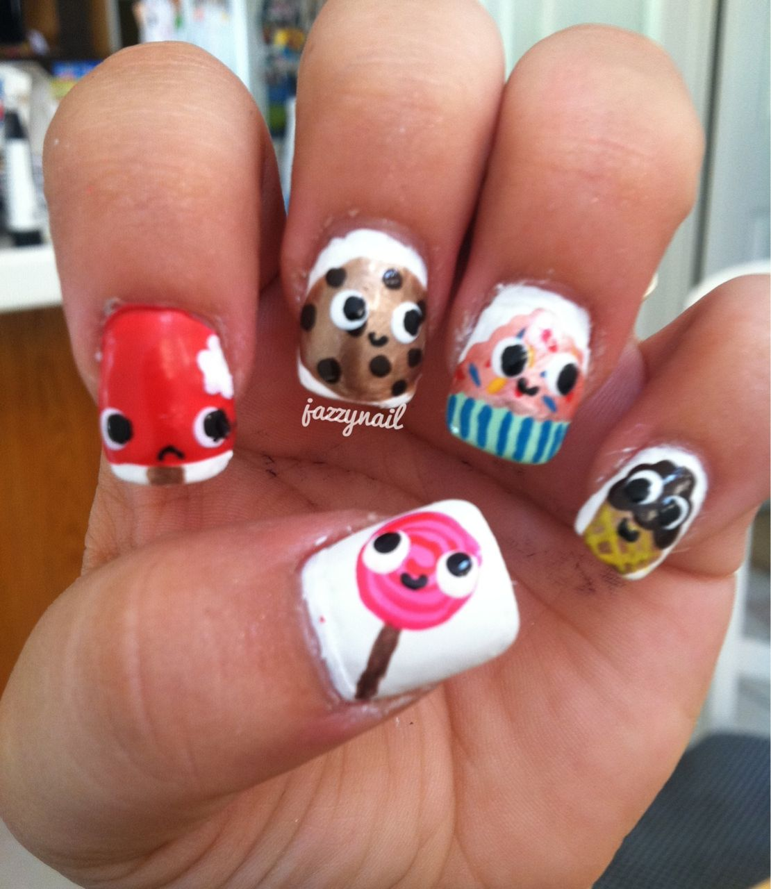 Funny nail art design ideas with cute 5 desserts cartoon