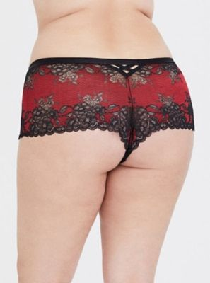fa2bc7701229 Black & Red Strappy Lace Cheeky Panty Plus Size Underwear, Matches Fashion,  Lace Shorts