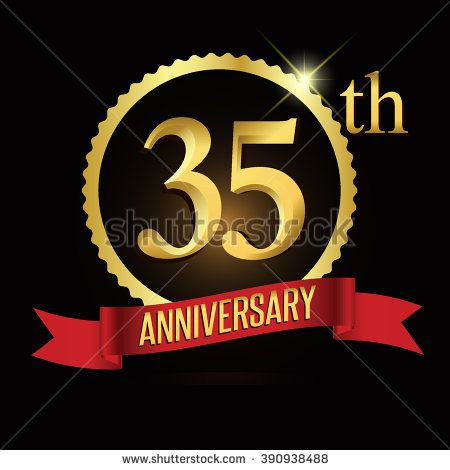35th golden anniversary logo with red ribbon. 35 years anniversary signs illustration. - stock vector