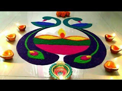 Diwali Rangoli design|diwali|easy to draw|festive peacock rangoli#bluebirch