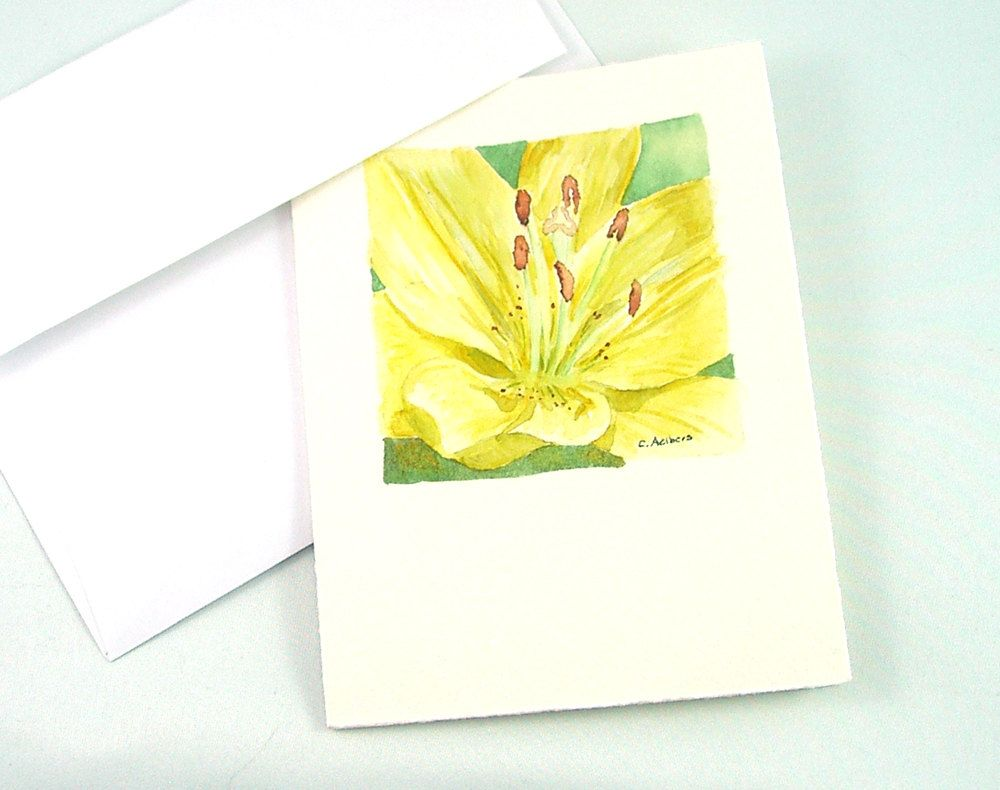 Original Floral Art Watercolor Yellow Lily for Sale. $18.95, via Etsy. Visit my Flower Original Art section to see more of my floral watercolors at 6catsart on etsy. © 2012 Corinne Aelbers