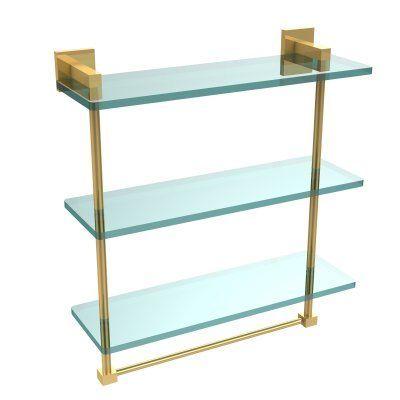 Allied Brass Montero 16 in. Triple Tiered Glass Shelf with integrated towel bar - MT-5-16TB-UNL, AVON873-14