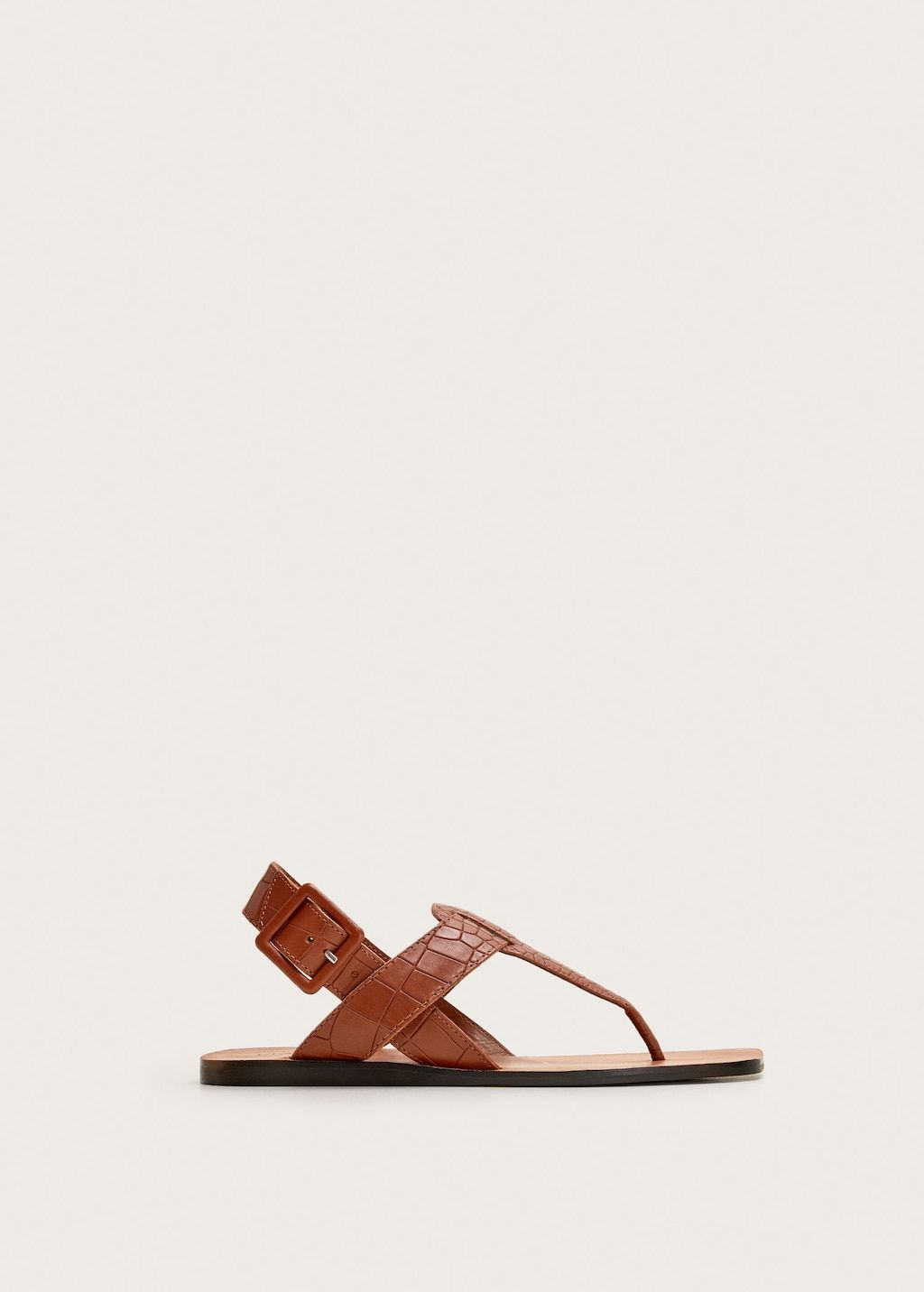 Details about Dark Brown Leather Hippie Flat Ring Toe Roman
