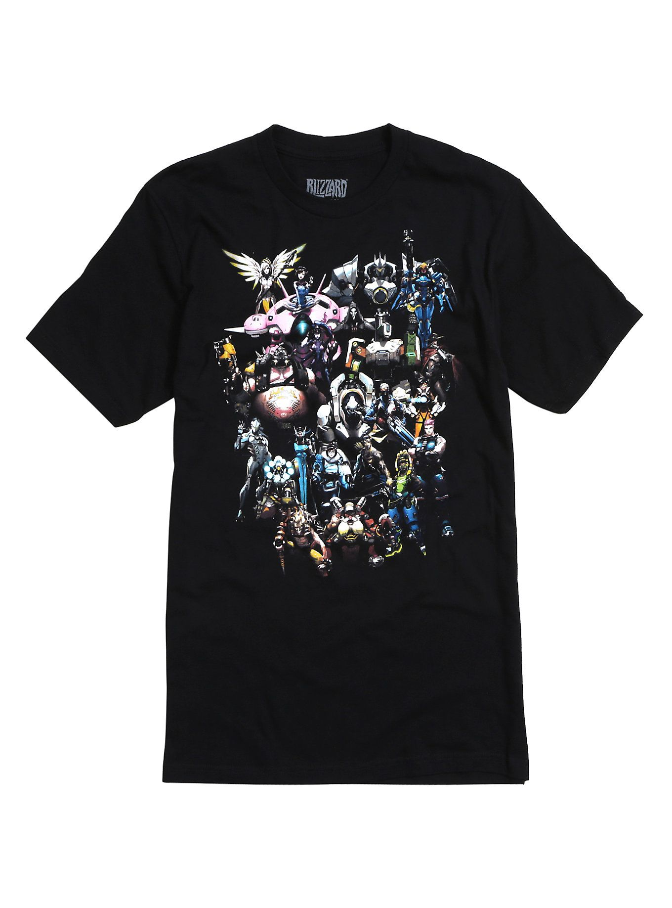 Black t shirt with print - Black T Shirt From Blizzard Entertainment S Highly Anticipated Overwatch Video Game With A Large Hero Characters Design On Front Logo Design Tag Print On