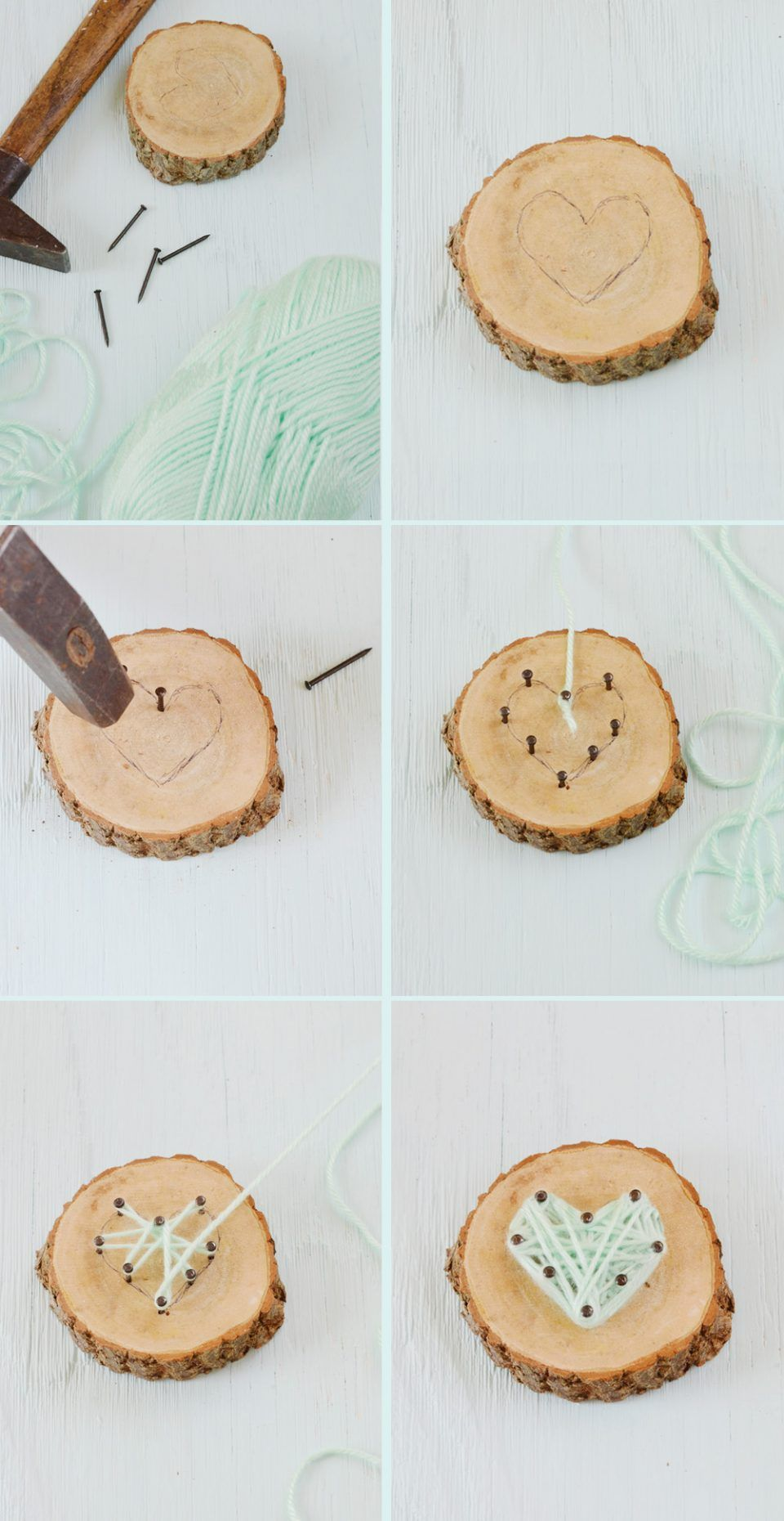 String Art zum Muttertag: Herz aus Nägeln und Wolle • Minidrops