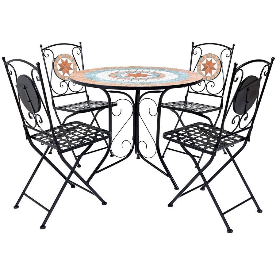 Garden Dining Set Bistro Mosaic Metal Table Chairs Patio 4