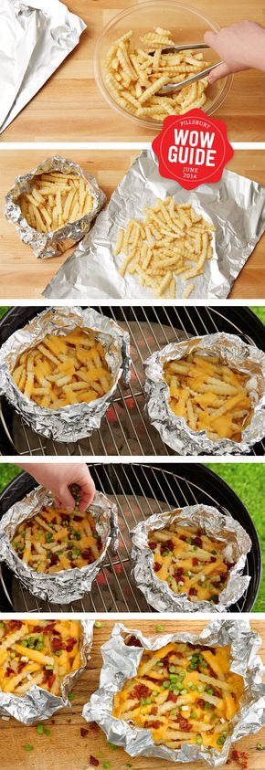Cheesy delicious french fries made in a foil pack on the grill - make Chilli with Hillshire Farm Sausage for an extra hearty kick! #AmericanCraft and #GotItFree