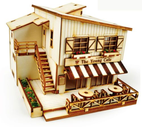 Cafe House Wooden Model Kit Ho Scales 3d Wood Miniature Series Diorama Gift Toys