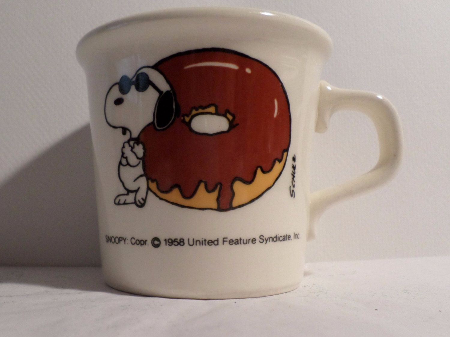 Peanuts Mug, Snoopy, Joe Cool, With A Donut, Vintage 1958, TAYLOR INTERNATIONAL, Coffee Cup, Coffee mug, Snoopy mug, antique, old, Coffee by DeliciasCastle on Etsy