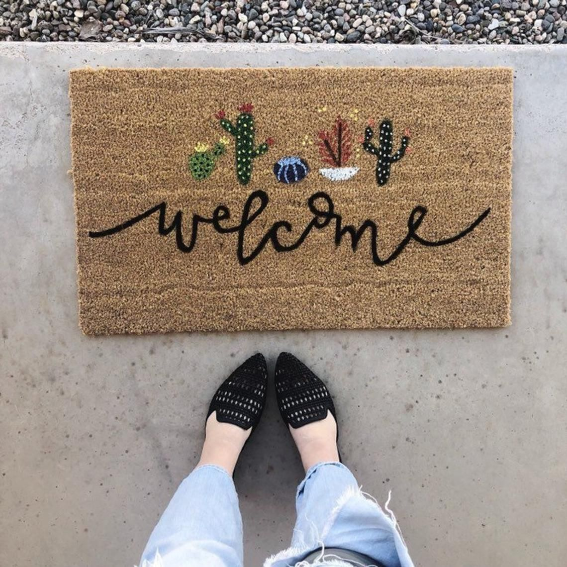 Welcome Cactus / cactus decor / hello welcome mat / hand painted, custom doormat / cute doormat / outdoor doormat / hand lettered