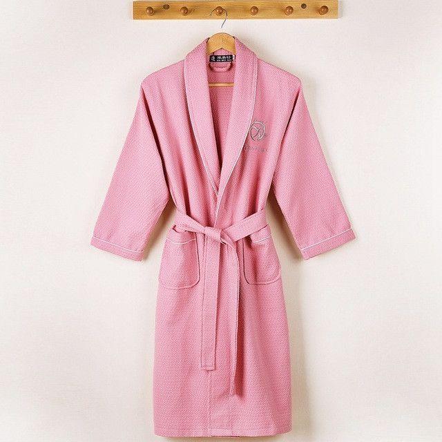 26f6791958 Waffle bathrobe men women cotton terry plus size XL men s robe nightgown  ladies sleepwear long soft