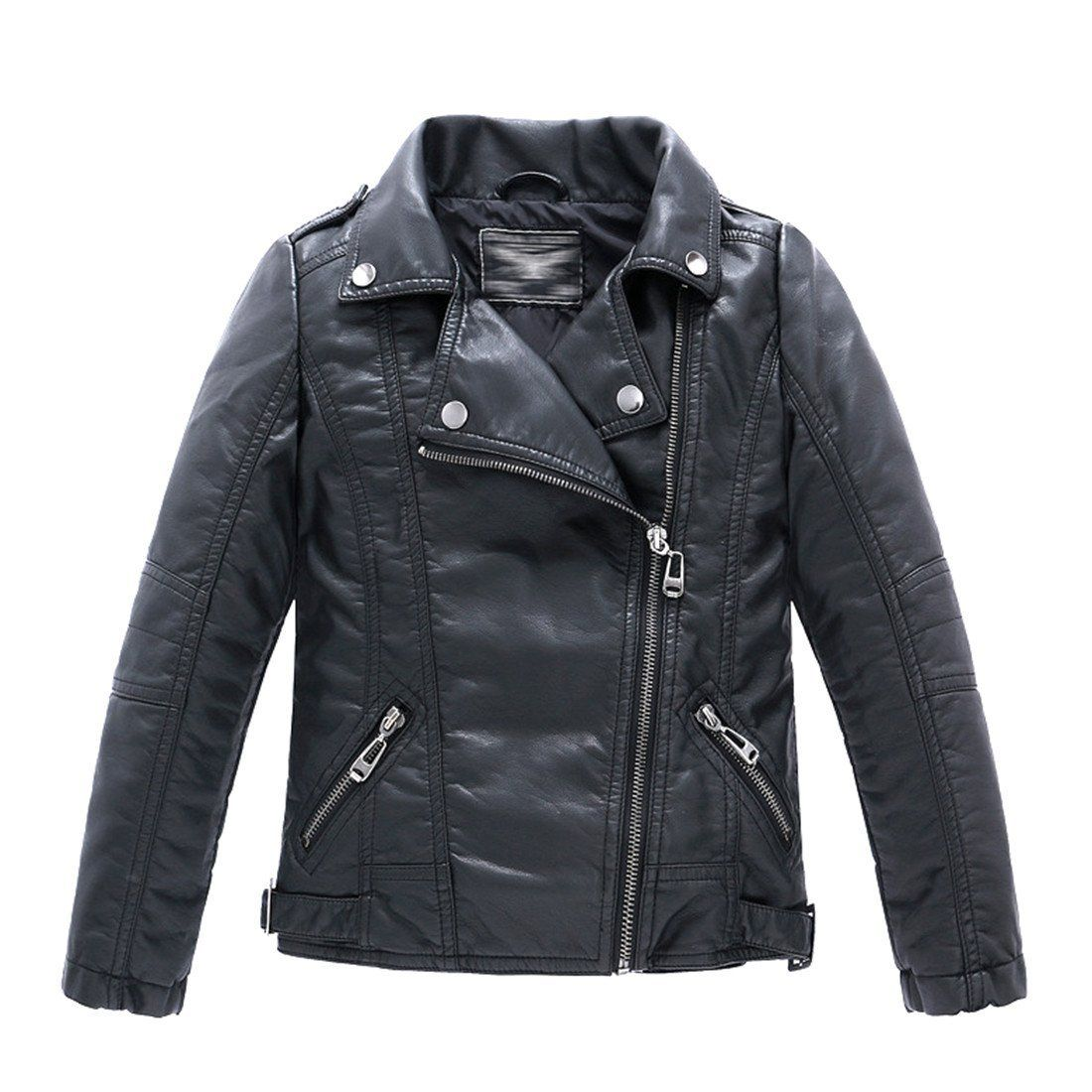 Baby Girls Motorcycle Jackets Spring Autumn PU Leather Coat