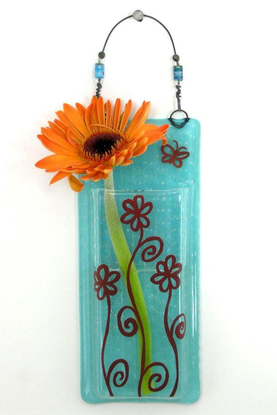 Hanging Bud Vase Fused Glass Pocket Vase Flower Vase Wall Vase