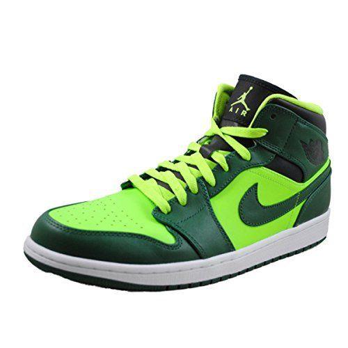 566a0273e08 Nike Air Jordan 1 Mid Mens Basketball Shoes 554724-330 Gorge Green-Black-