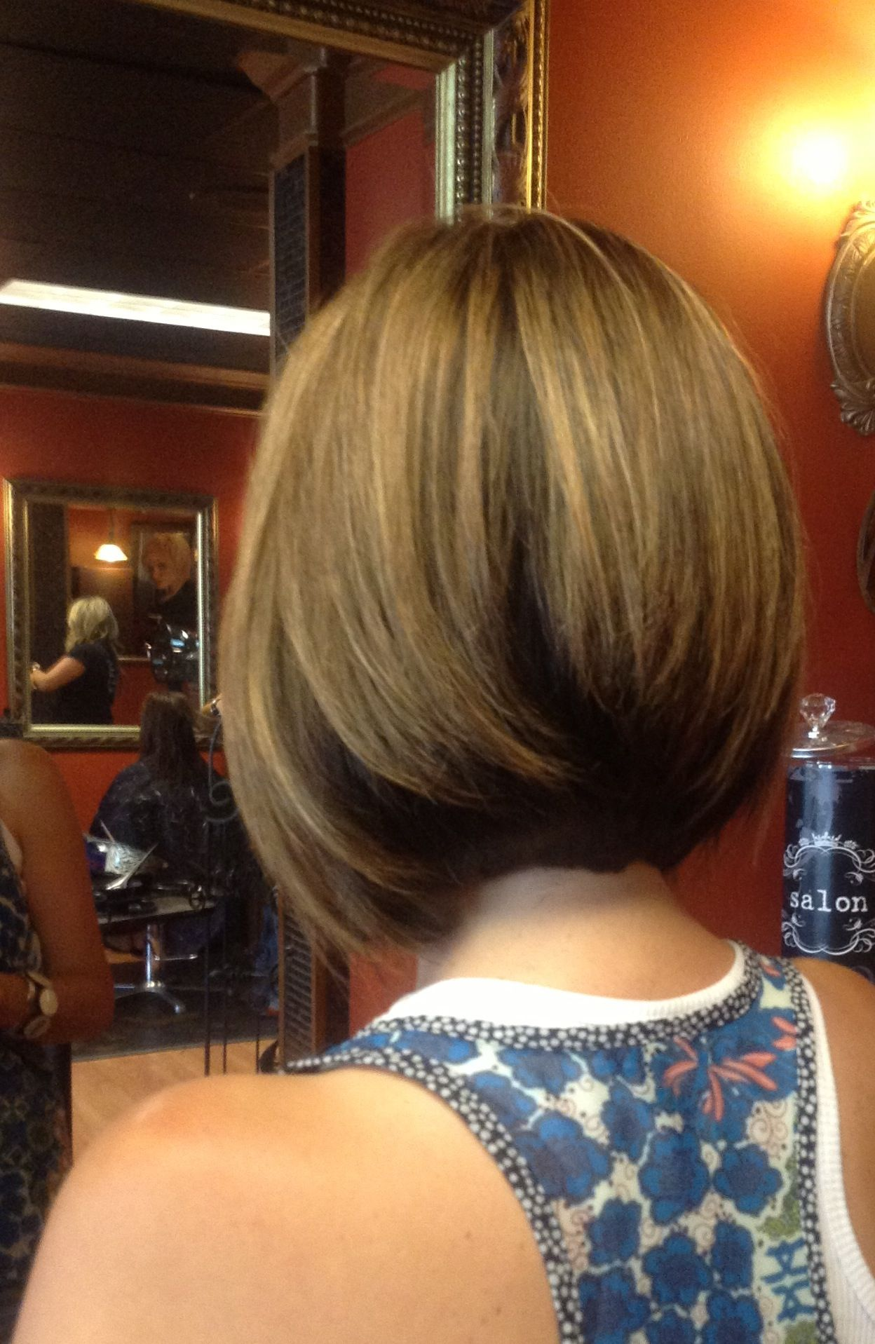 Medium length inverted bob with long layers razor cut great for