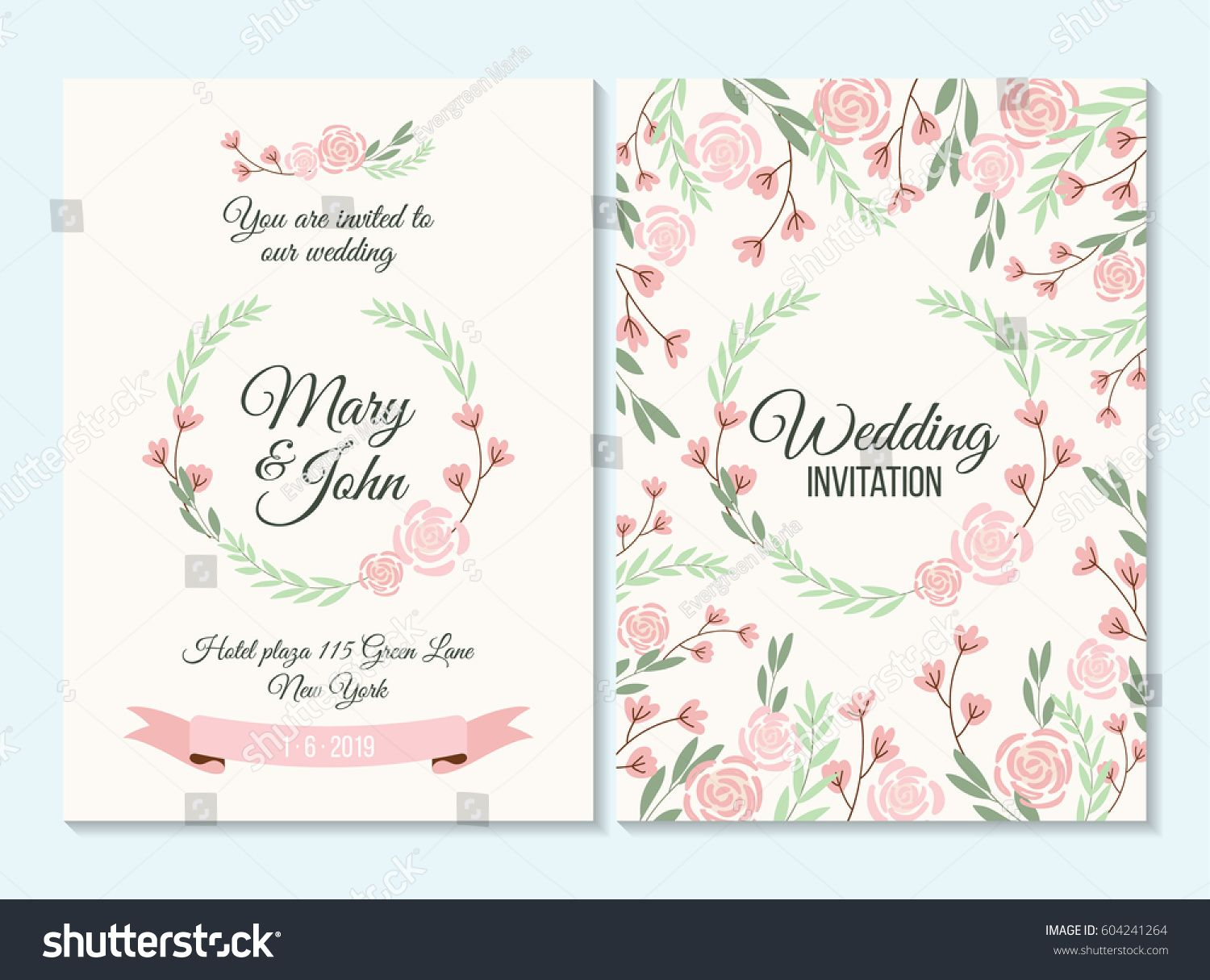 Pink and green pastel Wedding invitation, thank you card, save the ...
