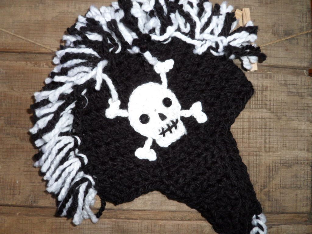 Mohawk Crochet Hat With Skull Baby Toddlerchild Teen Adult