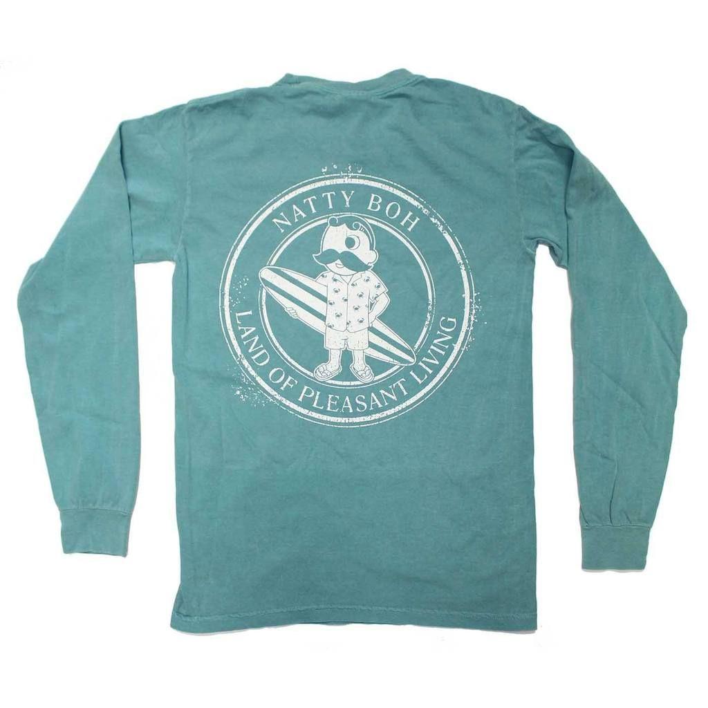 58488516003 Natty Boh Surfer Dude Land of Pleasant Living (Seafoam)   Long Sleeve Shirt