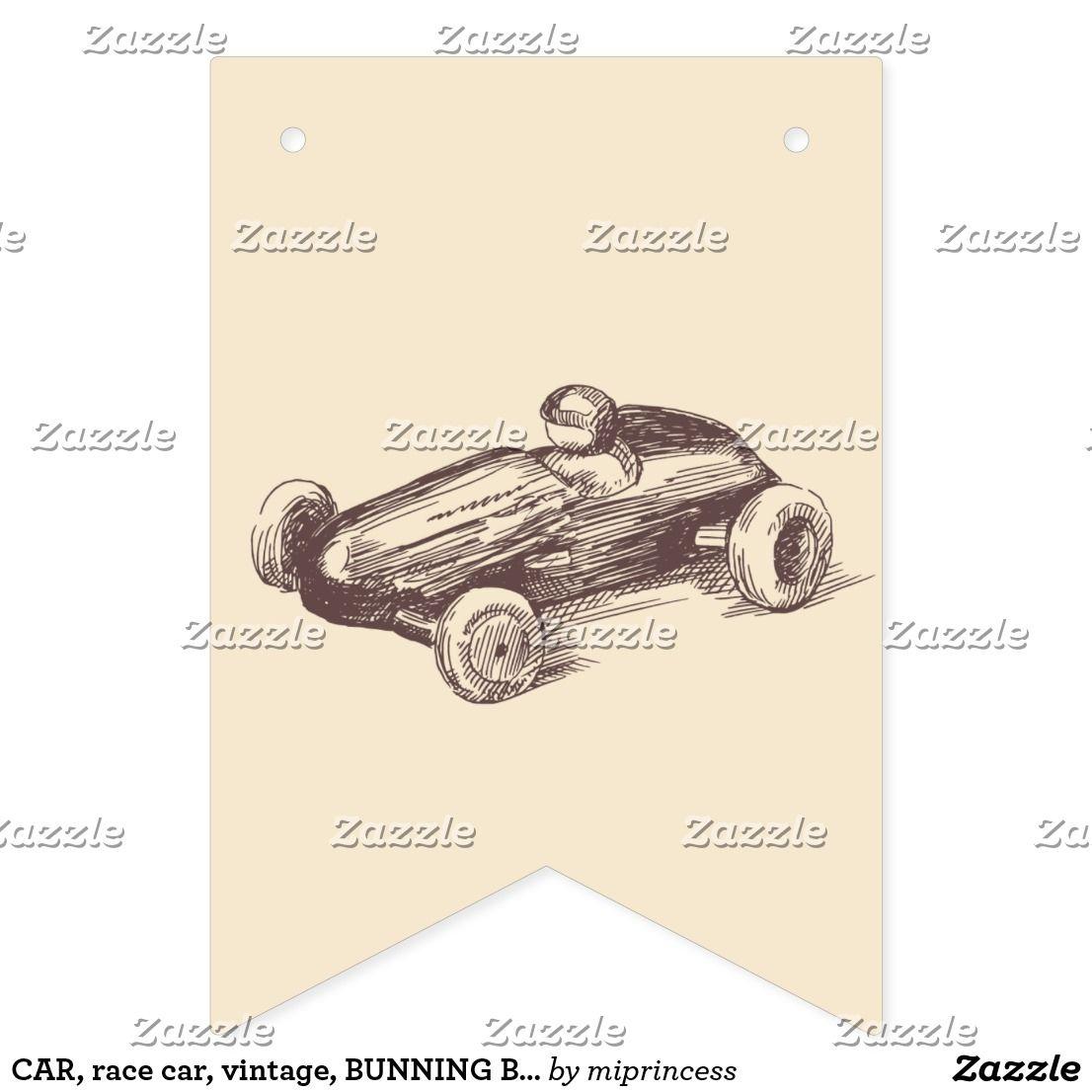 CAR, Race Car, Vintage, BUNNING BANNER