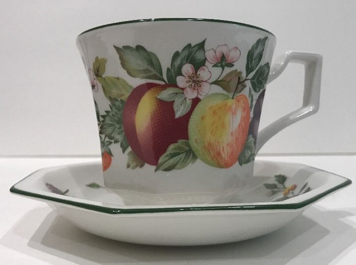 Johnson Brothers Fresh Fruit 4 Cups u0026 Saucers Set Octagonal Pattern Green Trim & Johnson Brothers Fresh Fruit 4 Cups u0026 Saucers Set Octagonal Pattern ...