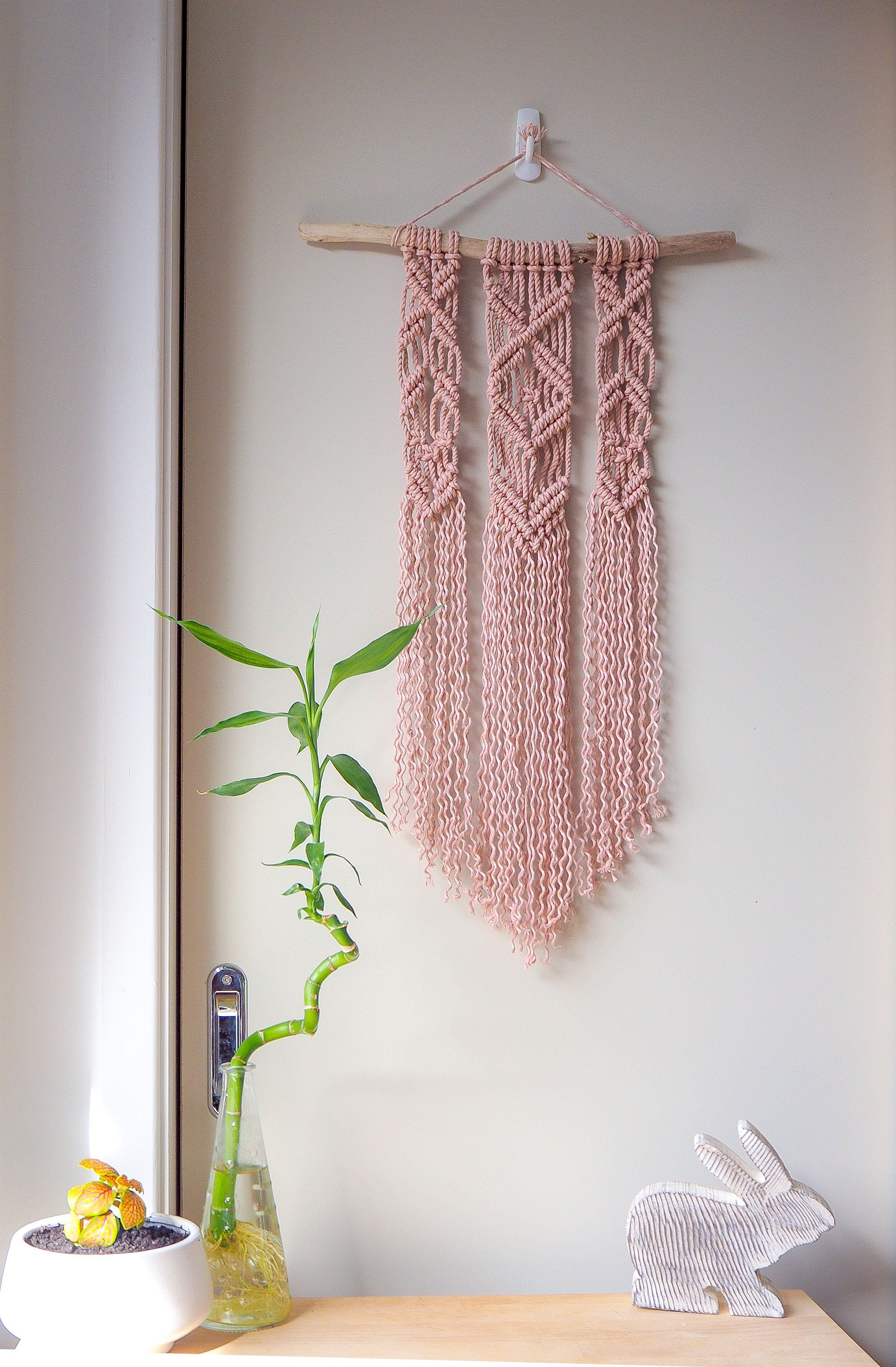 Blush Pink Hand Dyed Macrame Wall Hanging For A S