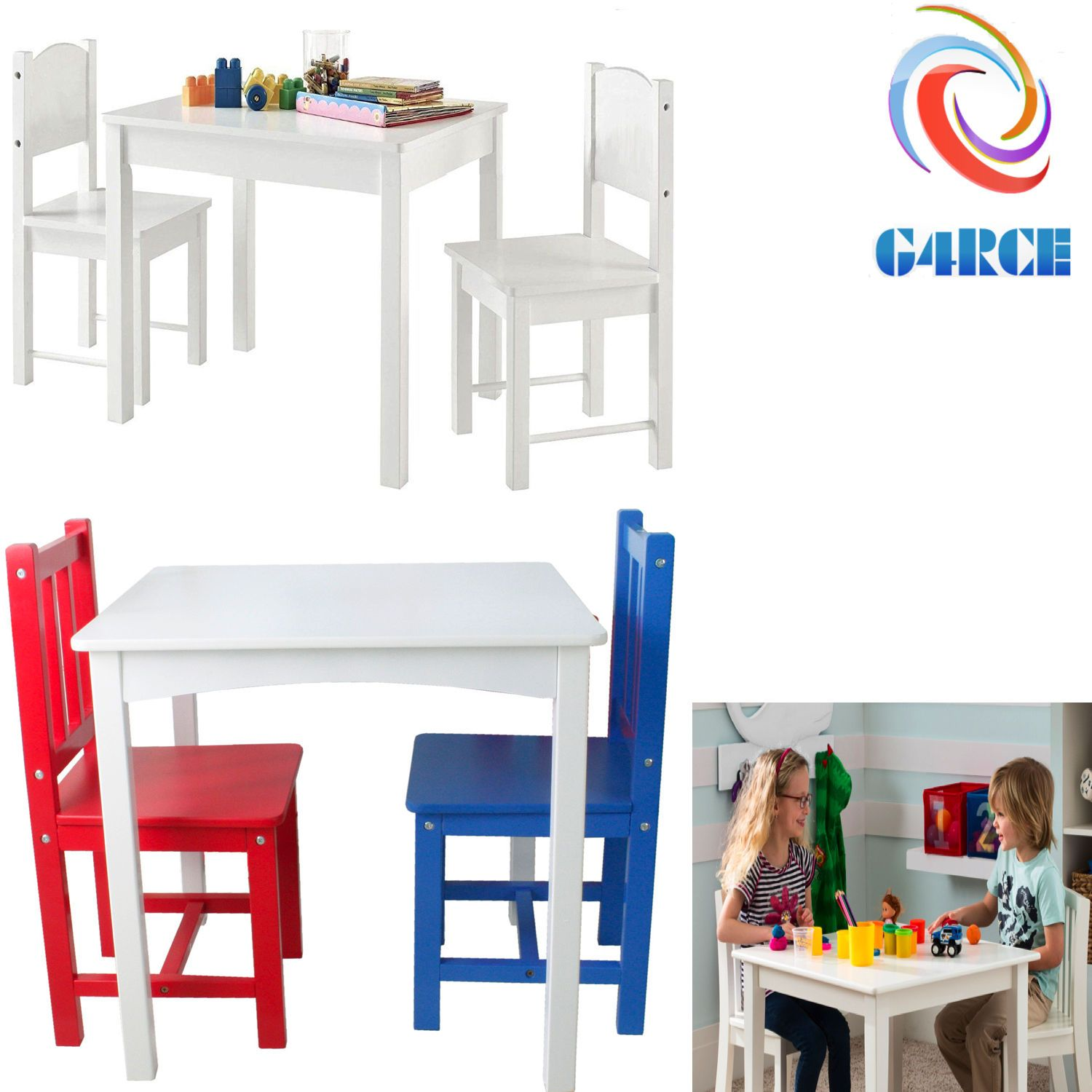 Kids Wooden White Table Desk And Chair Set For Study