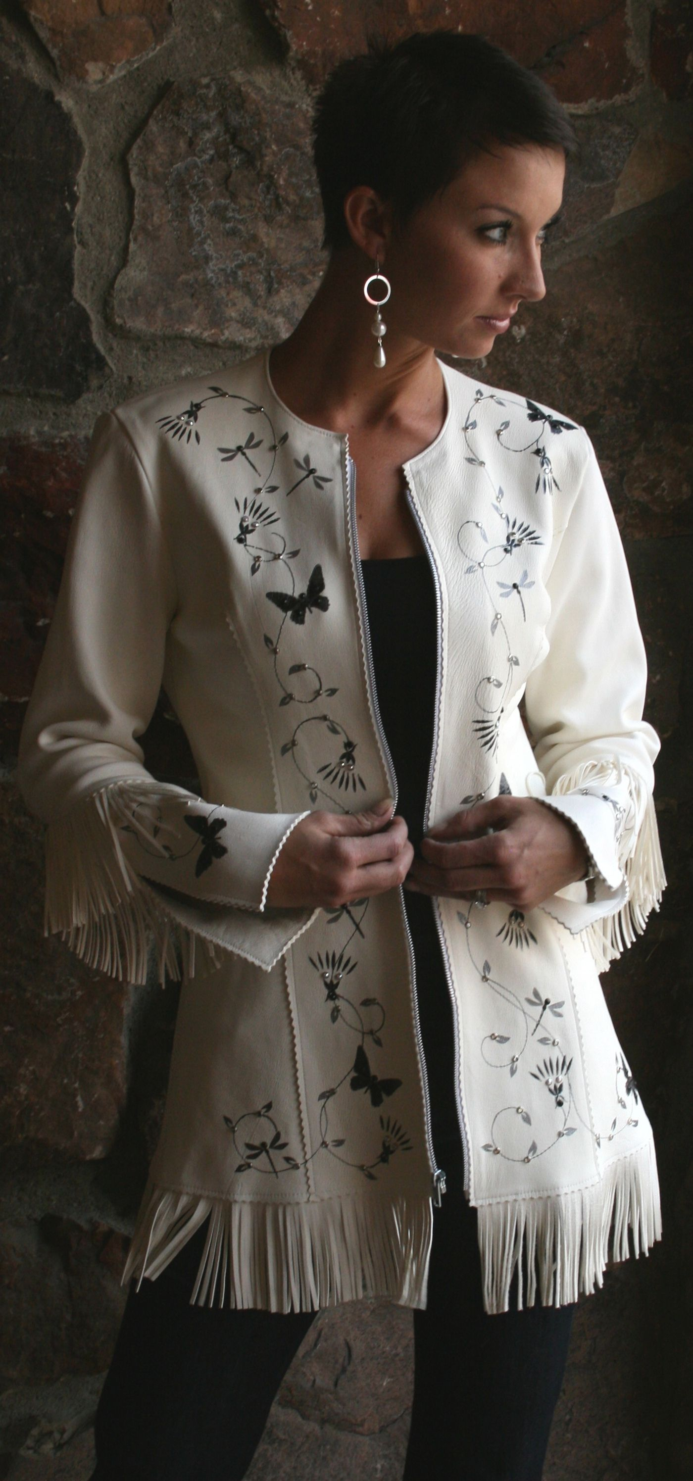 White hand painted buckskin jacket meredith lockhart collections