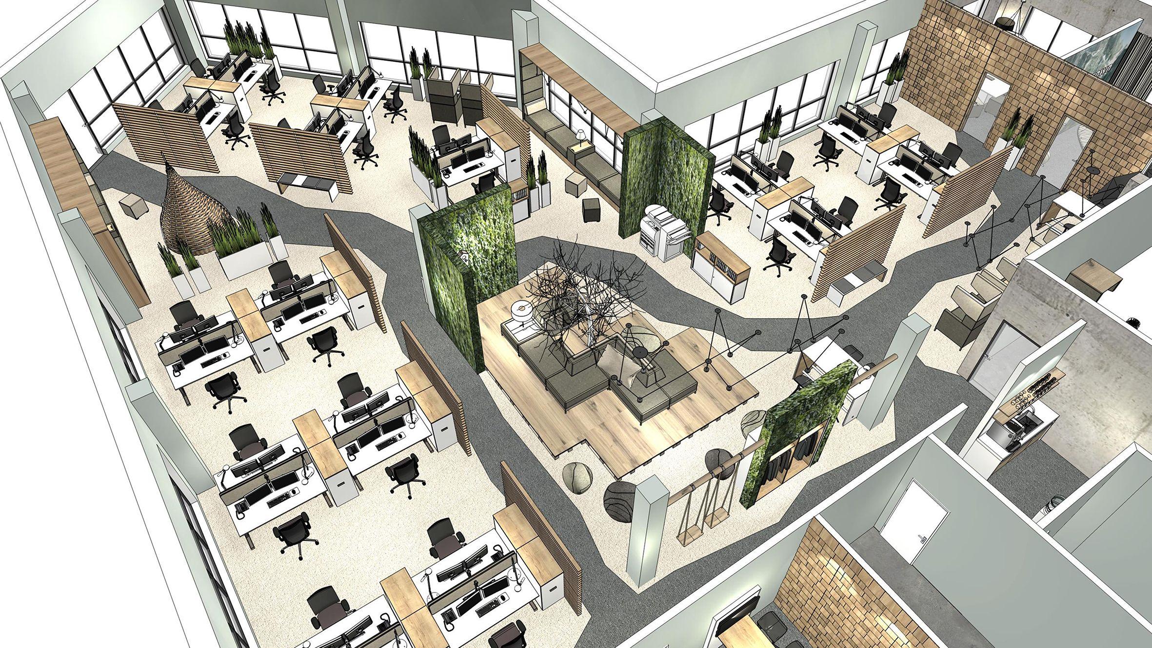 innenarchitektur open space b ro mit notwendigen. Black Bedroom Furniture Sets. Home Design Ideas