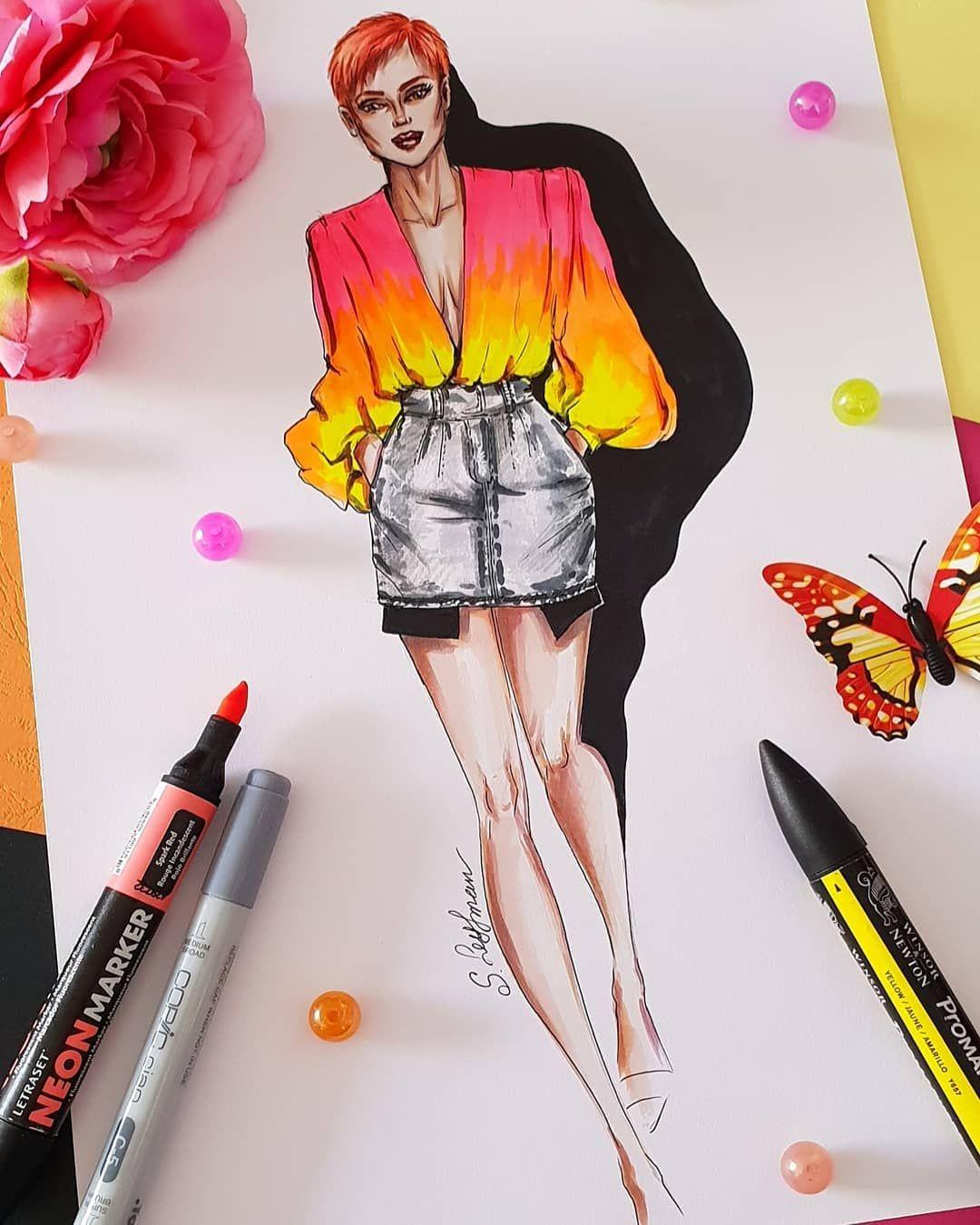 Sveta Slobodov Leyfman On Instagram Neon Add Shine To Fashion Illustration Sketches Fashion Illustration Sketches Dresses Fashion Illustrations Techniques