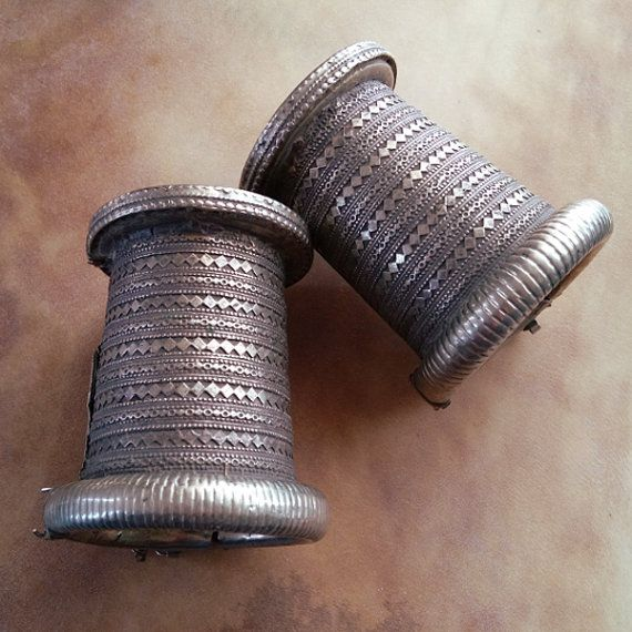 Old Tribal Pair Bracelets Cuffs Balochi Tribe by NumiSupplies